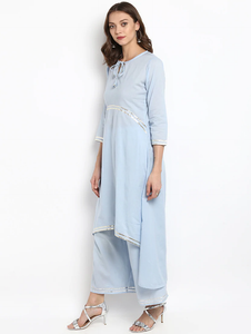Lemon Tart Clothing Women's LTS11 Lace Detail Kurti and Pants Sets - Light Blue