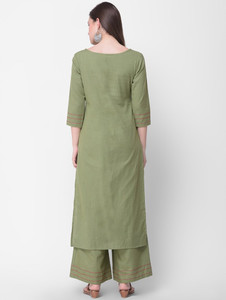 Lemon Tart Clothing Women's LTS7 Tassel and Button Detail Kurti and Pants Sets - Green