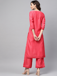 Lemon Tart Women's LTS13 Stitch Detail Kurti and Pants Set - Pinkish Red