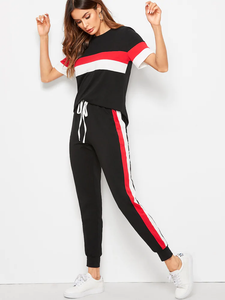 Fifth Avenue Women's TPS296 Color Block Top and Jogger Pants 2 Piece Co-Ord Sets - Black and Red