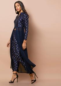 Fifth Avenue Women's TPS333 Blended Silk Printed Kurta and Pants Set - Blue