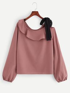 Fifth Avenue Women's UVA1347 Tie Neck Full Sleeve Top - Pink