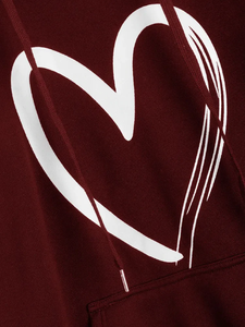 Fifth Avenue Fade Heart Print Hoodie - Maroon
