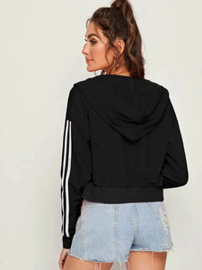 Fifth Avenue LNA1041 Cropped Women's Sleeve Striped Tape Zip Up Hoodie- Black