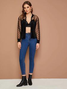 Fifth Avenue Velvet Zip Up Dot Net Mesh Bomber Jacket LNA2037 - Black