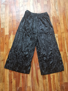 Fifth Avenue FAVVP2 Self Belted Crushed Velvet Pleated Wide Leg Culotte Pants