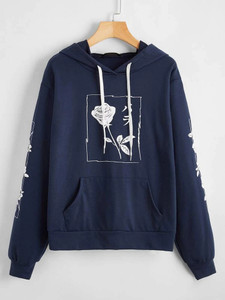 Fifth Avenue DIFT21 Japanese Florals Print Hoodie - Navy Blue