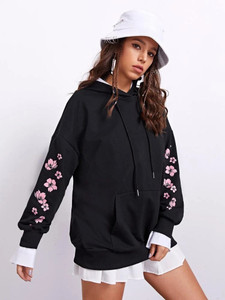 Fifth Avenue DIFT22 Floral Sleeve Print Hoodie - Black