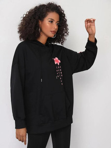 Fifth Avenue DIFT23 Hope Believe Floral Sleeve Print Hoodie - Black
