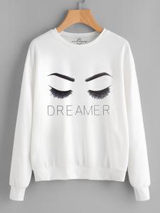 Fifth Avenue DIFT48 Dreamer Eyelashes Printed Sweatshirt - White