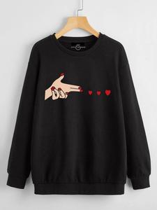 Fifth Avenue DIFT50 Shoot Heart Vector Printed Sweatshirt - Black