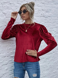 Fifth Avenue Womens Puff Sleeve Velvet Stitched Western Top - FAWWT10