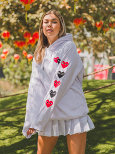 Fifth Avenue DIFT81 Hearts Front and Sleeve Print Hoodie - White