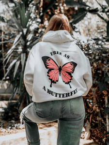 Fifth Avenue DIFT82 Free As A Butterfly Print Hoodie - White