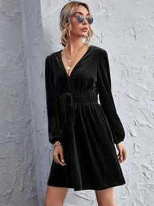 Fifth Avenue Womens Tie Waist Detail Velvet Stitched Western Dress FAWWDR3 - Black