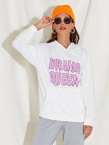 Fifth Avenue DIFT95 Drama Queen Print Hoodie - White