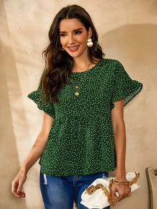 Women's Polka Dot Print Top by Groove - GRWTP1