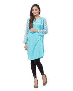 09b46fb87 Light Blue Cotton and Net Top For Women by Tee Tall