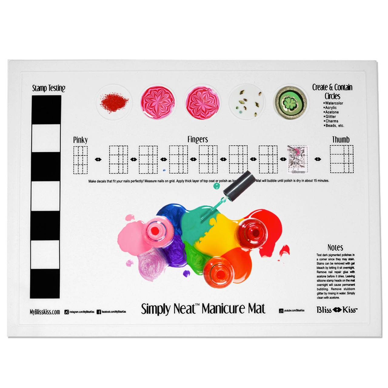 The Simply Neat™ Manicure Mat has a unique raised edge Create & Contain  Circles that help you prevent spills and keeps your creativity neatly contained to the mat... and not all over your workspace.