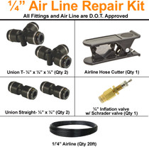 "1/4 "" airline repair kit is the perfect addition to keep in your vehicle in case of emergency."