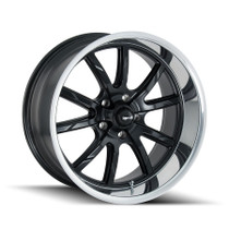Ridler 650 Matte Black/Polished Lip 22X9.5 5-115 18mm 72.62mm