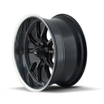 Ridler 650 Matte Black/Polished Lip 22X9.5 5-115 18mm 72.62mm - wheel side view