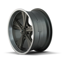 Ridler 651 Grey/Machined Lip 22X9.5 5-115 18mm 72.62mm - wheel side view