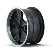 Ridler 651 Matte Black/Machined Lip 22X9.5 5-115 18mm 72.62mm - wheel side view