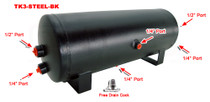 3 Gallon Steel Air Tank with 6 Ports- Black