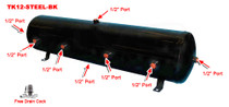 12 Gallon Steel Tank with 8 Ports- Black