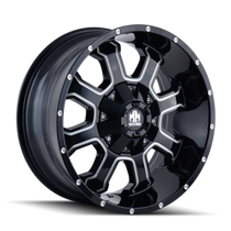 Mayhem Fierce 8103 Gloss Black/Milled Spokes 22X12 8-180 -44mm 124.1mm