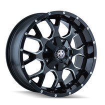 Mayhem 8015 Warrior Black/Milled Spoke 17X9 6-114.3/6-139.7 18mm 78.3mm