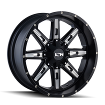 Ion 184 Satin Black/Milled Spokes 22X10 8-165.1/8-170 -19mm 130.8mm