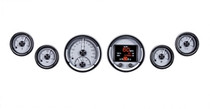 Universal 6 Gauge Round, Analog HDX Instruments with Silver Alloy background