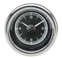 "3"" Round Universal VHX Clock Black Alloy Background"