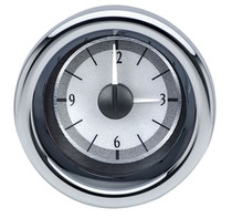 "3"" Round Universal VHX Clock Silver Alloy Background"