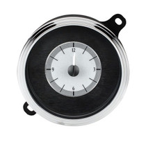 1942-48 Ford Car Analog Clock Silver Alloy Background