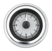 1951-52 Chevy Car Analog Clock Silver Alloy Background