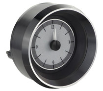 1963-67 Chevy Corvette Analog Clock Silver Alloy Background