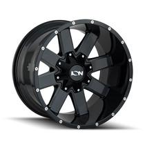 ION 141 Gloss Black/Milled Spokes 20X10 8-180 -19mm 124.1mm front view