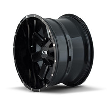 ION 141 Gloss Black/Milled Spokes 20X9 8-180 18mm 124.1mm side view