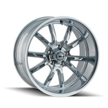 Ridler 650 Chrome 22X9.5 5-120 18mm 66.9mm front view