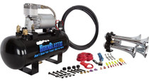Bullet Air Horn Kit - 1.5 Gal Tank - tank and compressor close up