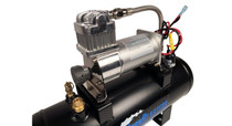 Hornblasters 145 PSI 2 Gallon Air Source Kit - close up view of compressor