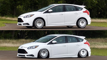 10-13 Mazda 3 / 11-18 Ford Focus Air Lift Kit (NO SHOCKS) with Manual Air Management- up and down view