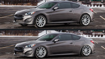 2009-2016 Hyundai Genesis Coupe Air Lift Kit with Manual Air Management w/ NO SHOCKS - up and down view