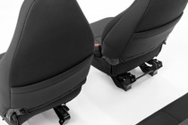 Jeep Neoprene Seat Covers Set (97-02 Wrangler TJ) Black - back of front seat
