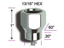 12m.m. X 1.50 E/T Lug Nut - with measurements
