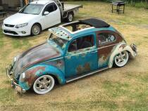 "39"" X 43"" Two Fold Sliding Rag Top ""1953-1976 Type 1 - VW Beetle Curve"" w/ Paintable Fiberglass Frame"