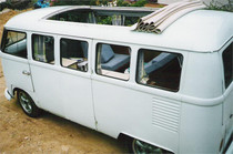 "46"" X 48"" Folding Sliding Rag Top-VW Bus 68-79 - displayed on a vehicle"